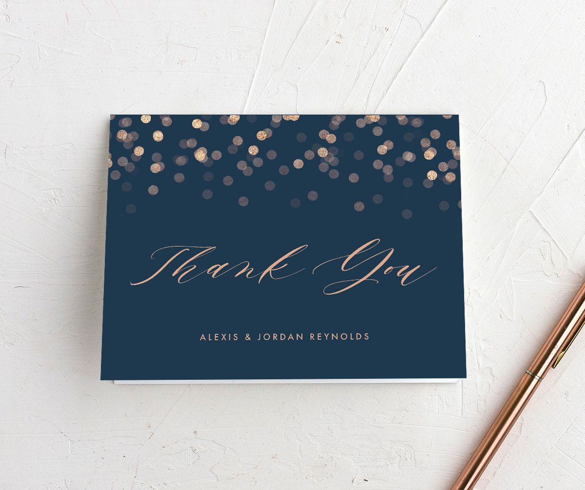 Elegant Glow folded Thank You Card front in blue