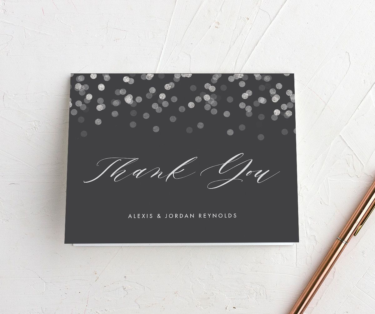 Elegant Glow folded Thank You Card front in grey