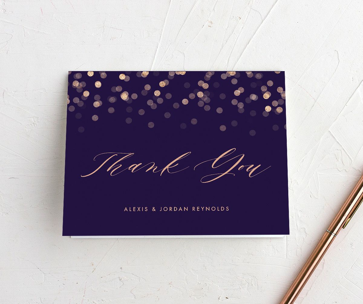 Elegant Glow folded Thank You Card front in purple