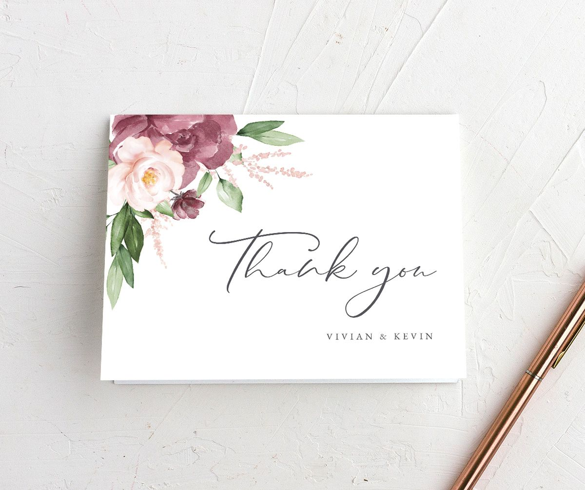 Beloved Floral folded Thank You Card in pink