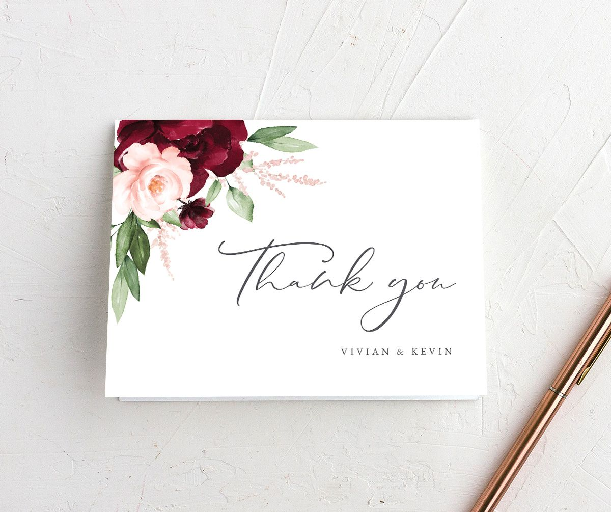 Beloved Floral folded Thank You Card in red