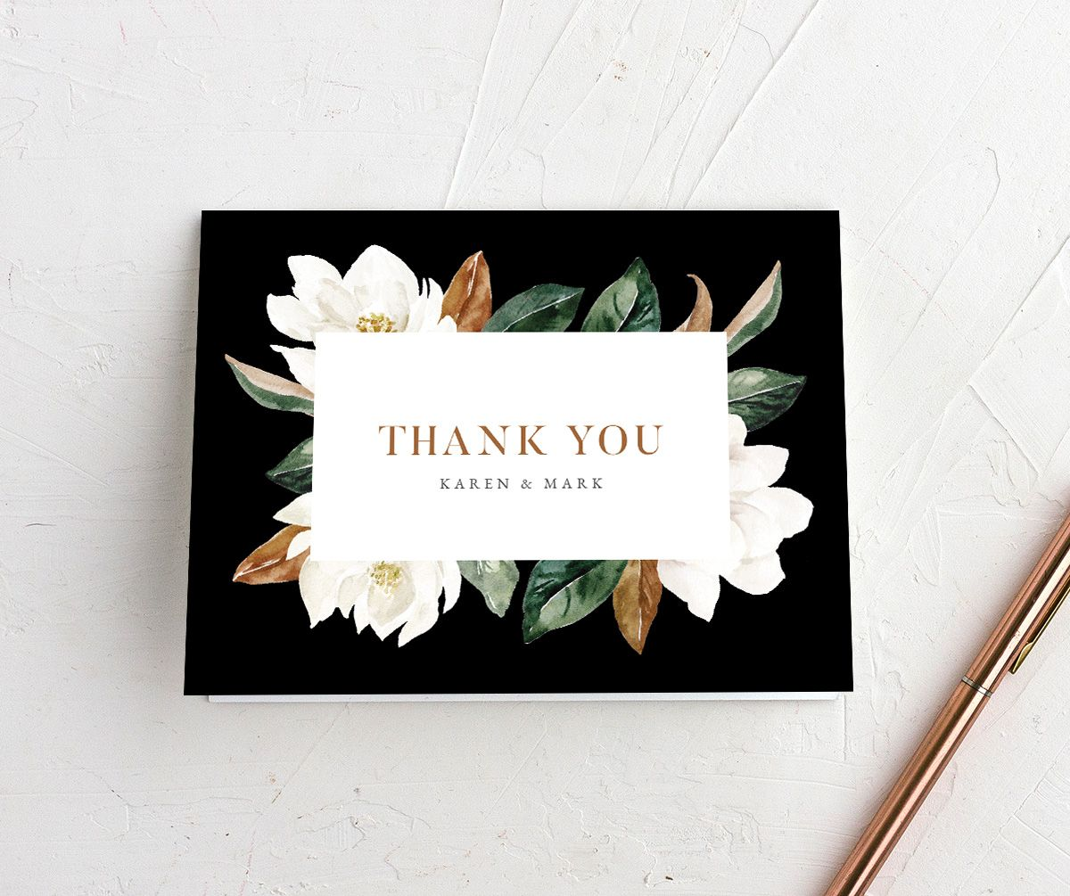 Painted Magnolia folded Thank You Card in black
