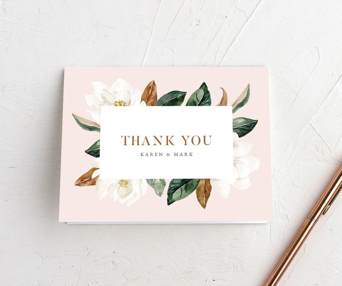 Painted Magnolia folded Thank You Card in pink