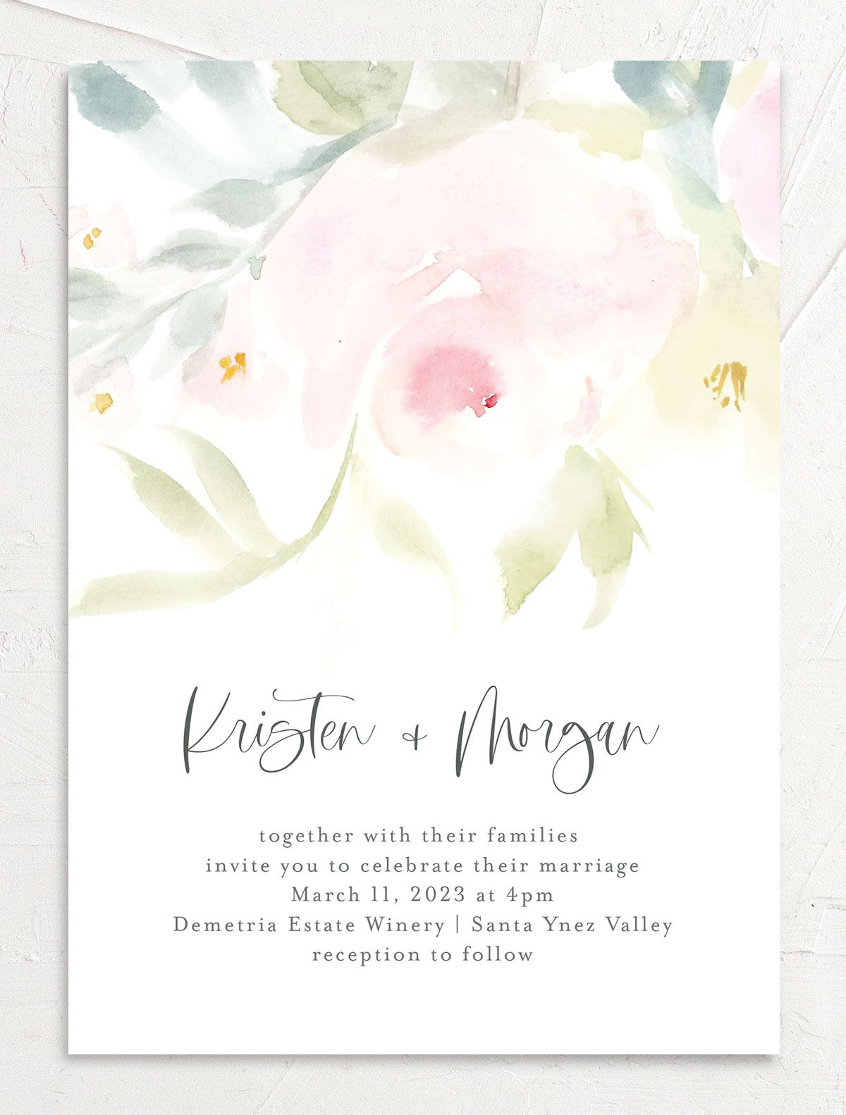 Romantic Watercolor Wedding Invitation Card front