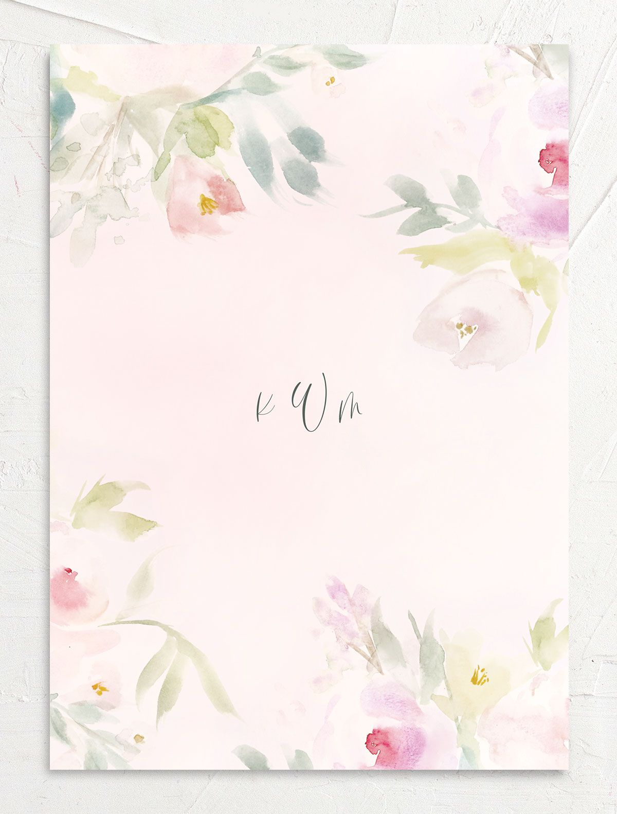 Romantic Watercolor Wedding Invitation Card back