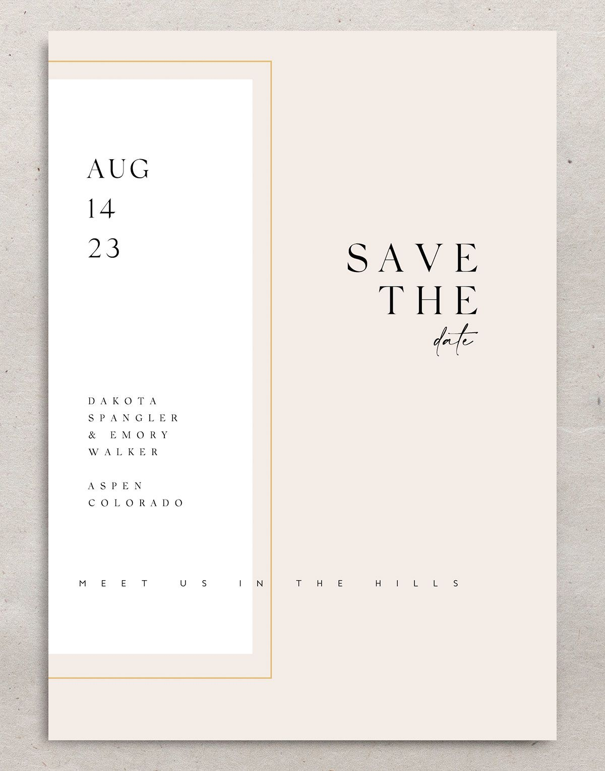 Ethereal Type Save the Date card front in pink
