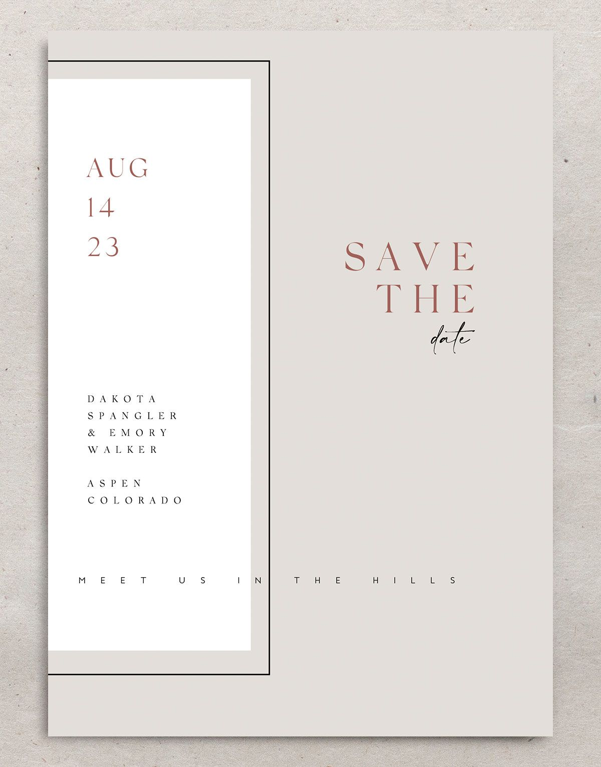Ethereal Type Save the Date card front in tan