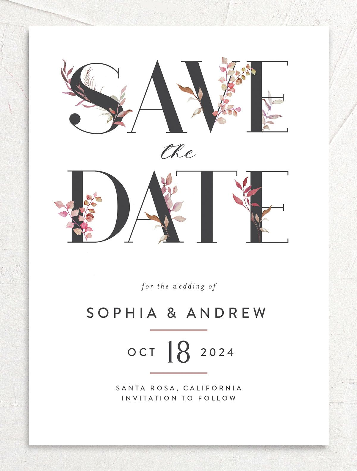 Leafy Ampersand save the date front purple