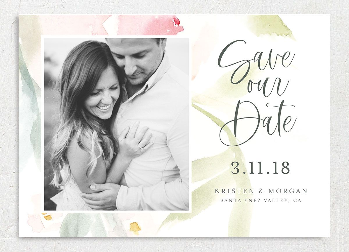 Romantic Watercolor Save the Date Card front