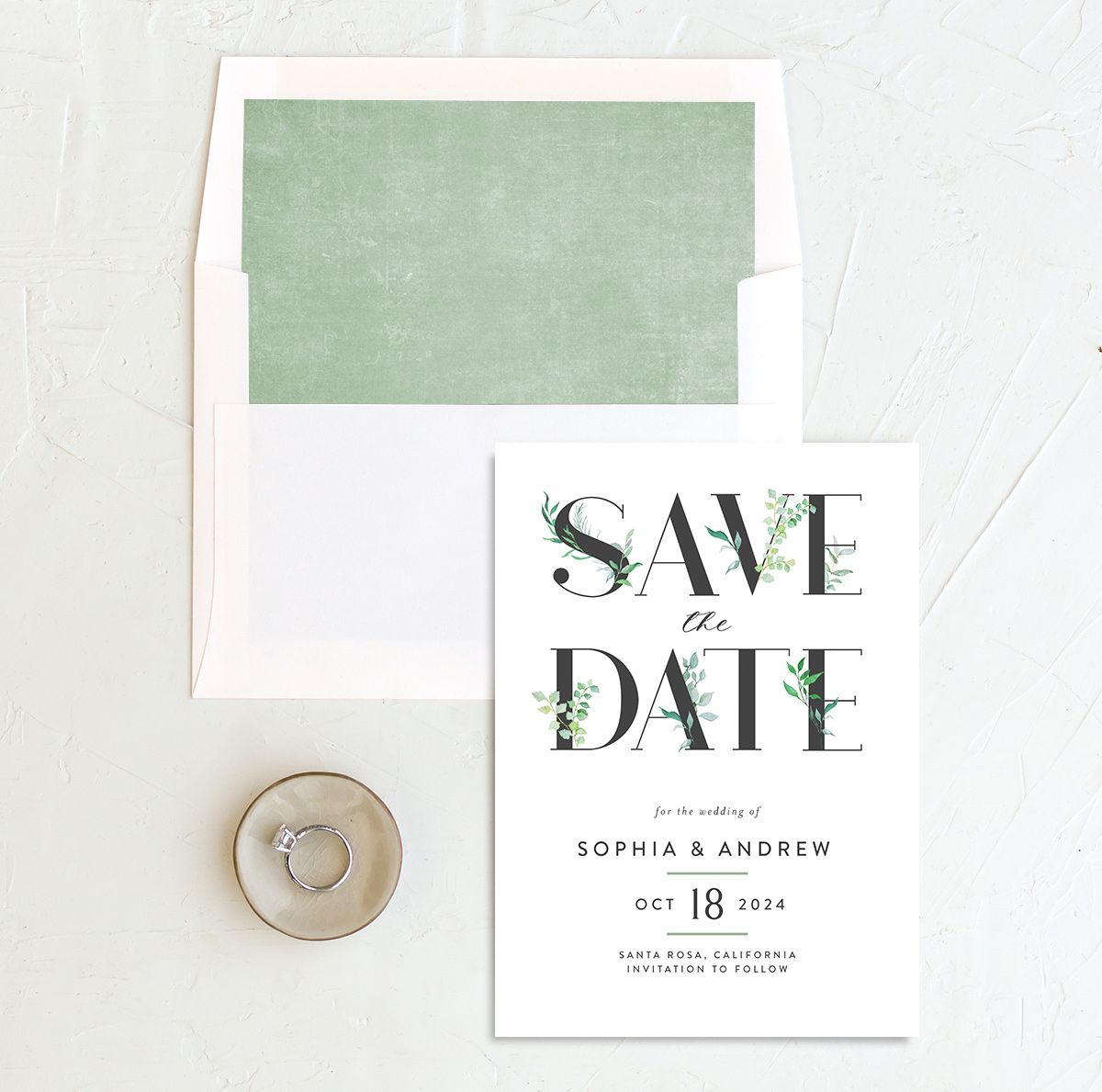 Leafy Ampersand save the date with liner green
