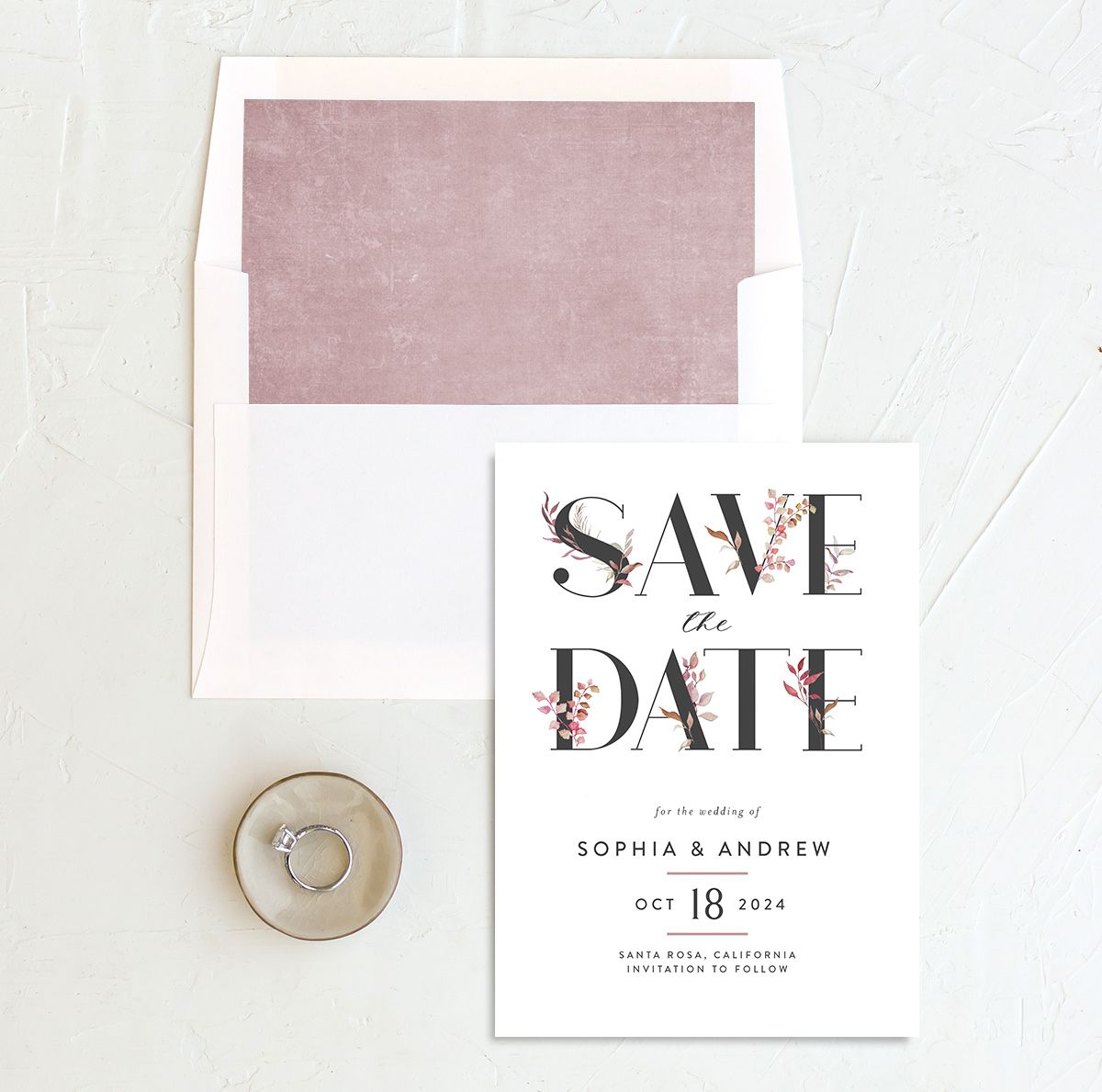 Leafy Ampersand save the date with liner purple