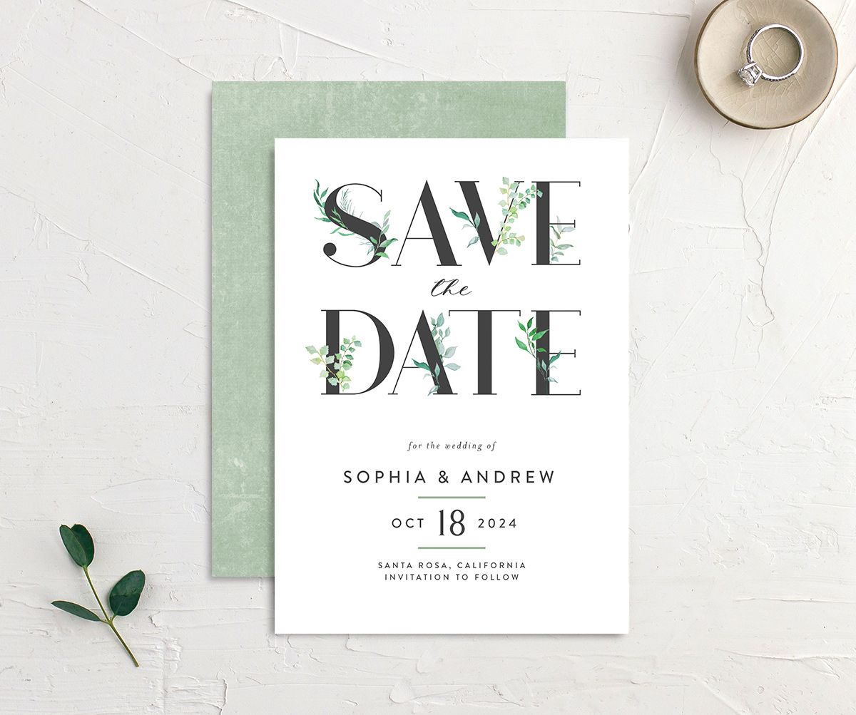 Leafy Ampersand save the date front and back green