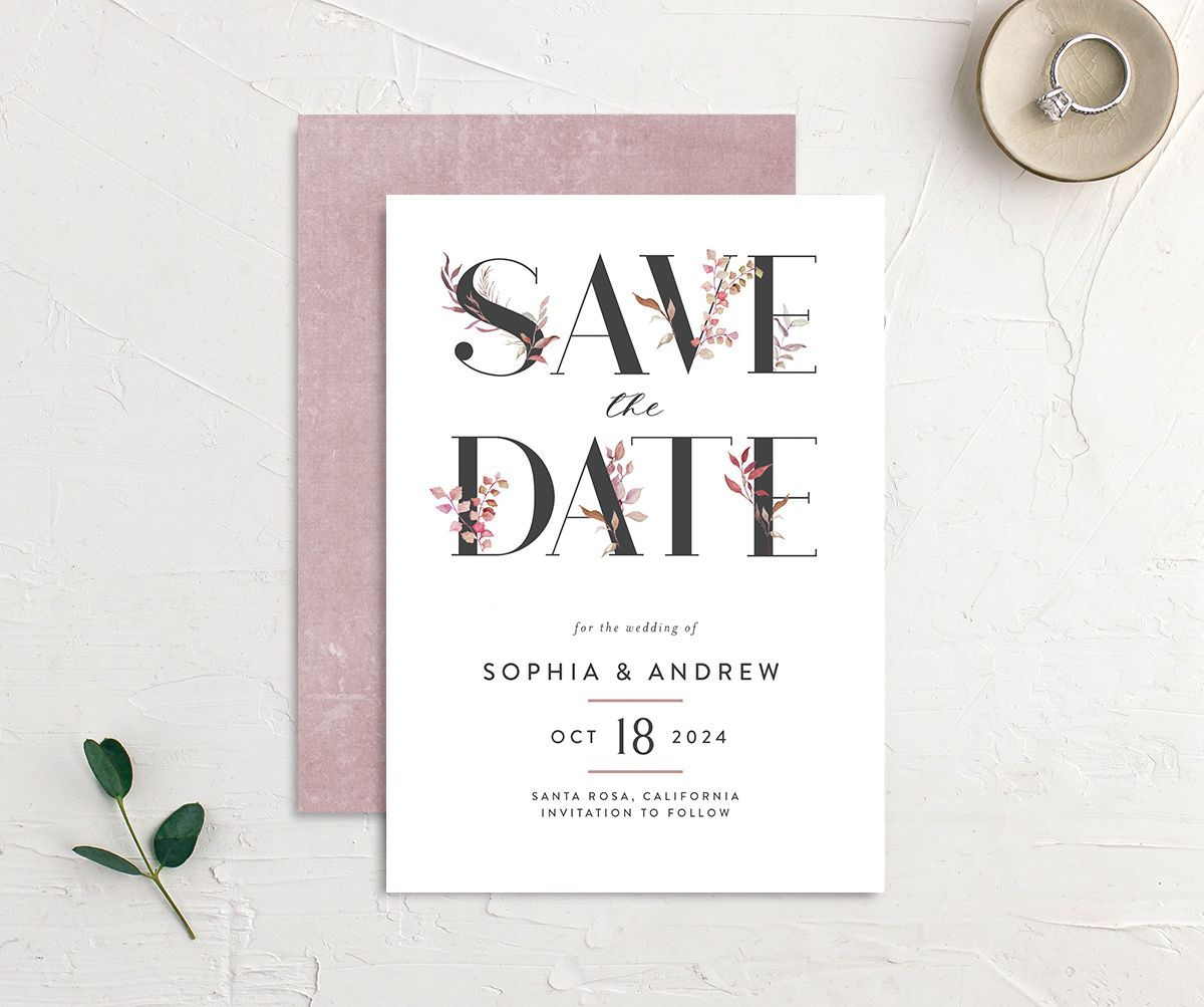 Leafy Ampersand save the date front and back purple