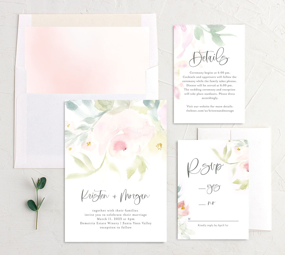 Romantic Watercolor Wedding Invitation suite