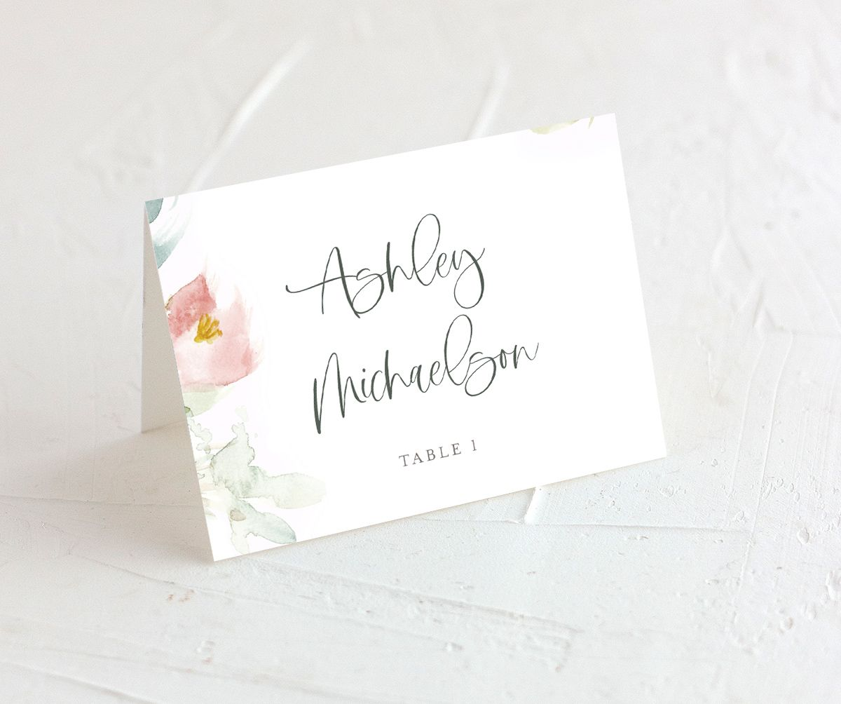 Romantic Watercolor folded Place Card