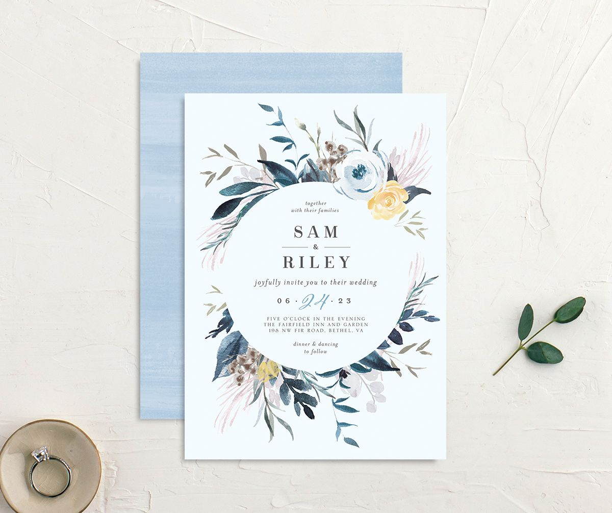 Wild Wreath Wedding Invitation front and back in blue