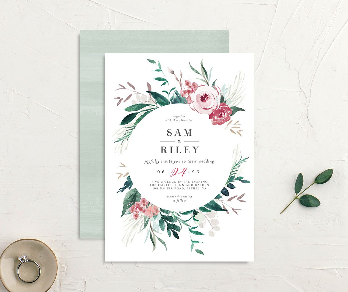 Wild Wreath Wedding Invitation front and back in green