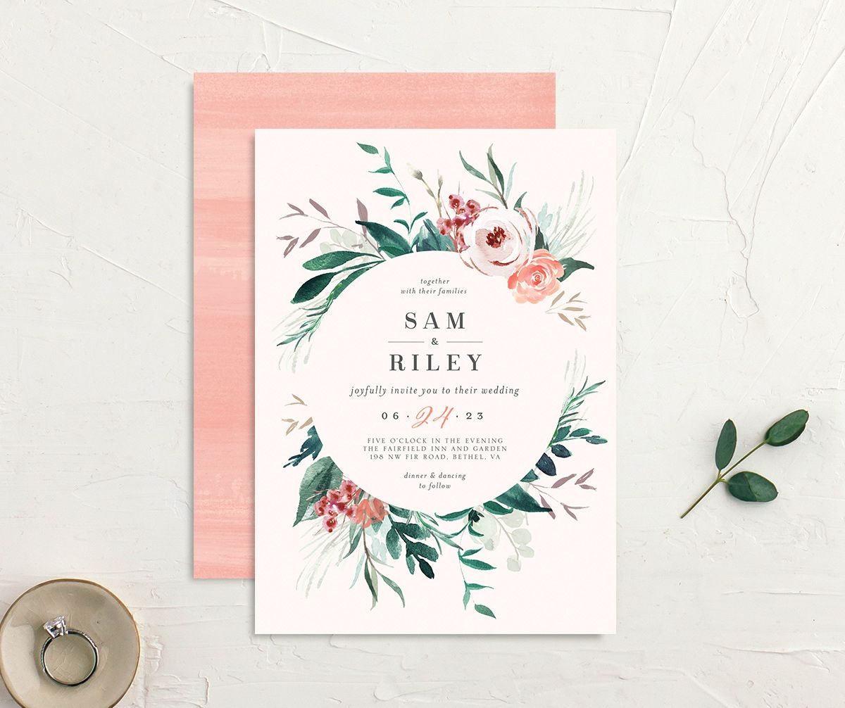 Wild Wreath Wedding Invitation front and back in pink