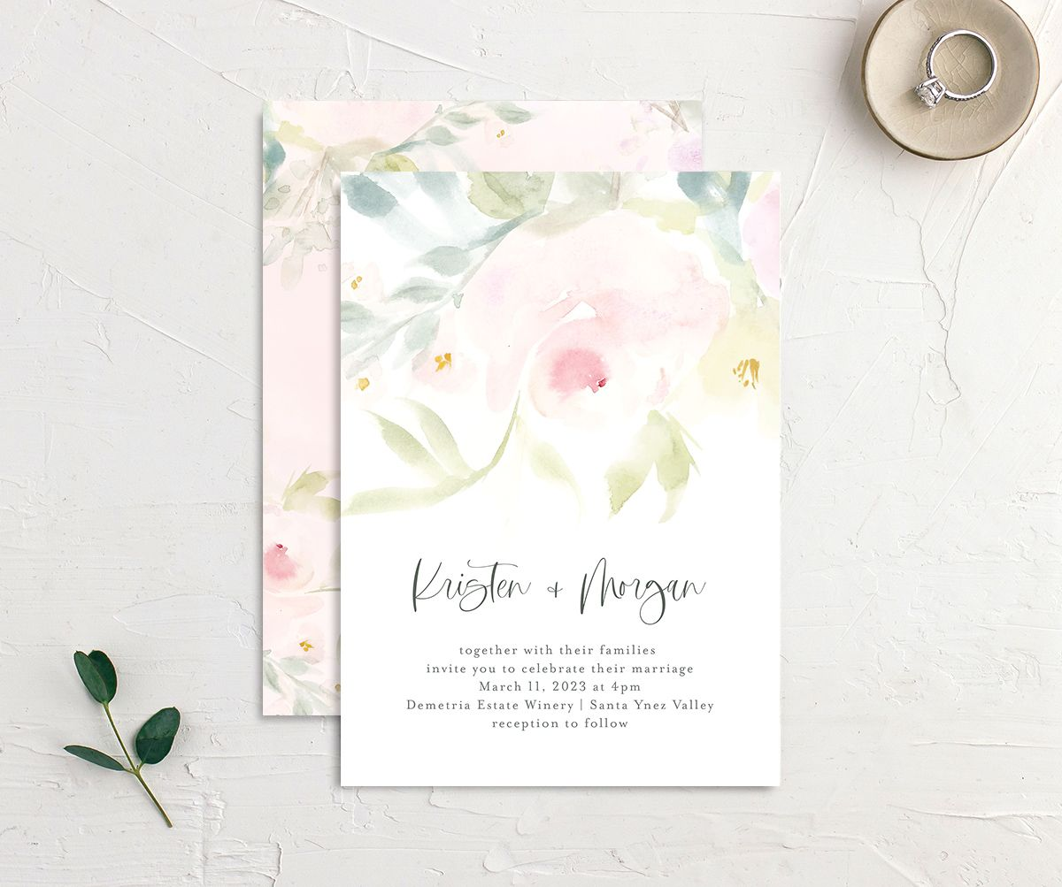 Romantic Watercolor Wedding Invitation Card front & back