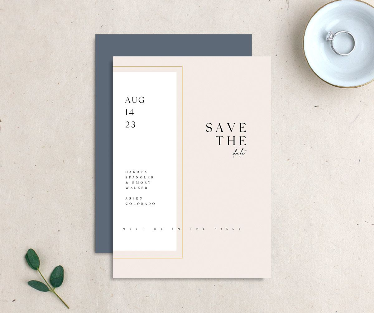 Ethereal Type Save the Date card front & back in pink