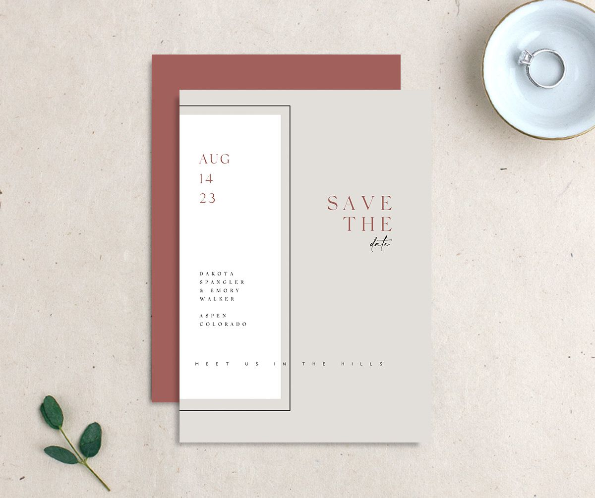Ethereal Type Save the Date card front & back in tan