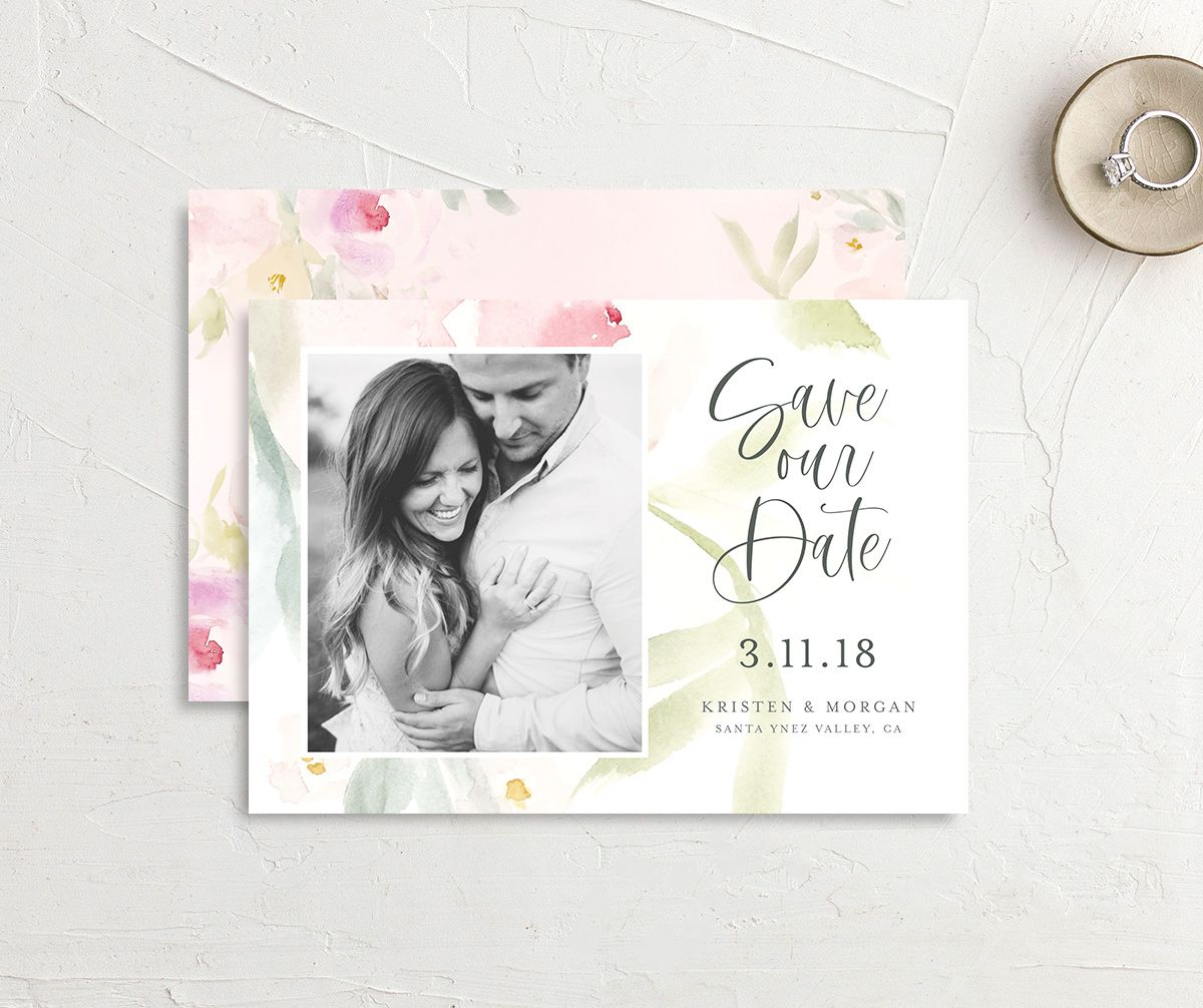 Romantic Watercolor Save the Date Card front & back