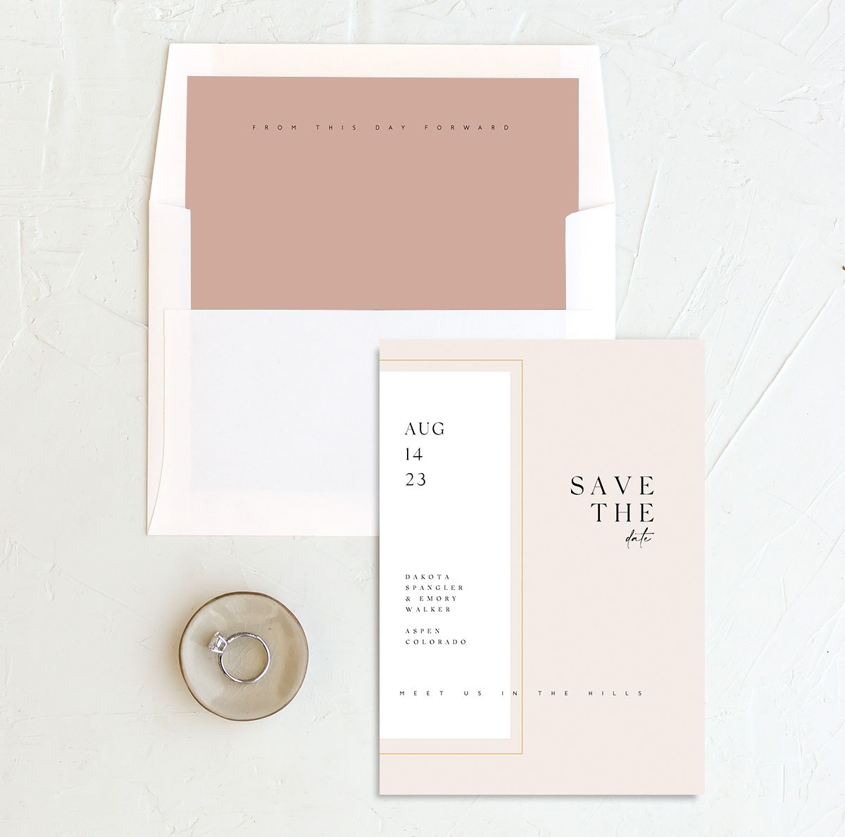 Ethereal Type Save the Date card with DIY liner in pink
