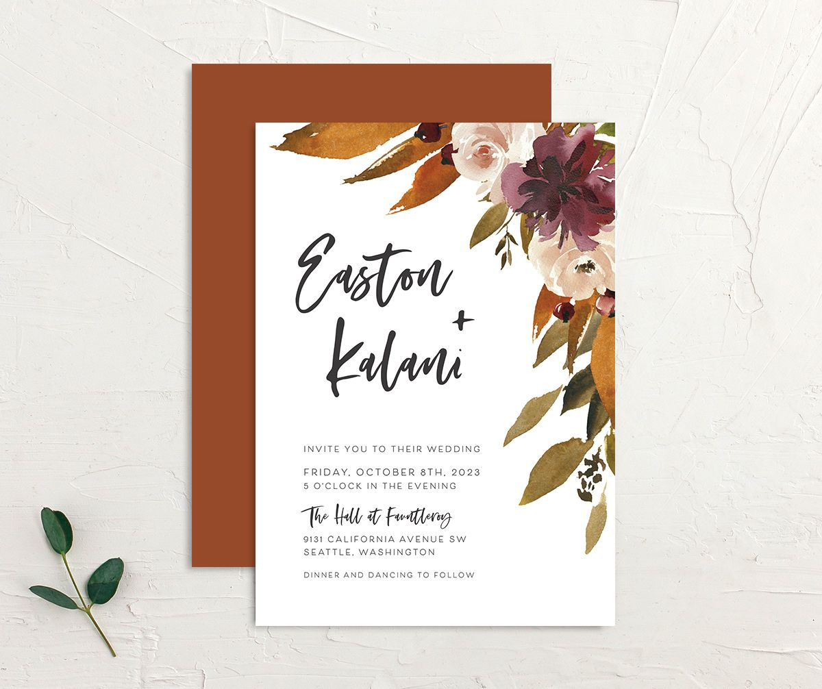 Fall Foliage Wedding Invitation front and back in brown
