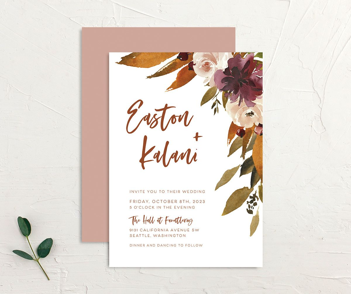 Fall Foliage Wedding Invitation front and back in pink