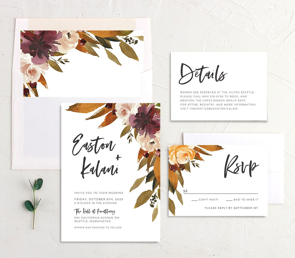 Fall Foliage Wedding Stationery Suite in brown