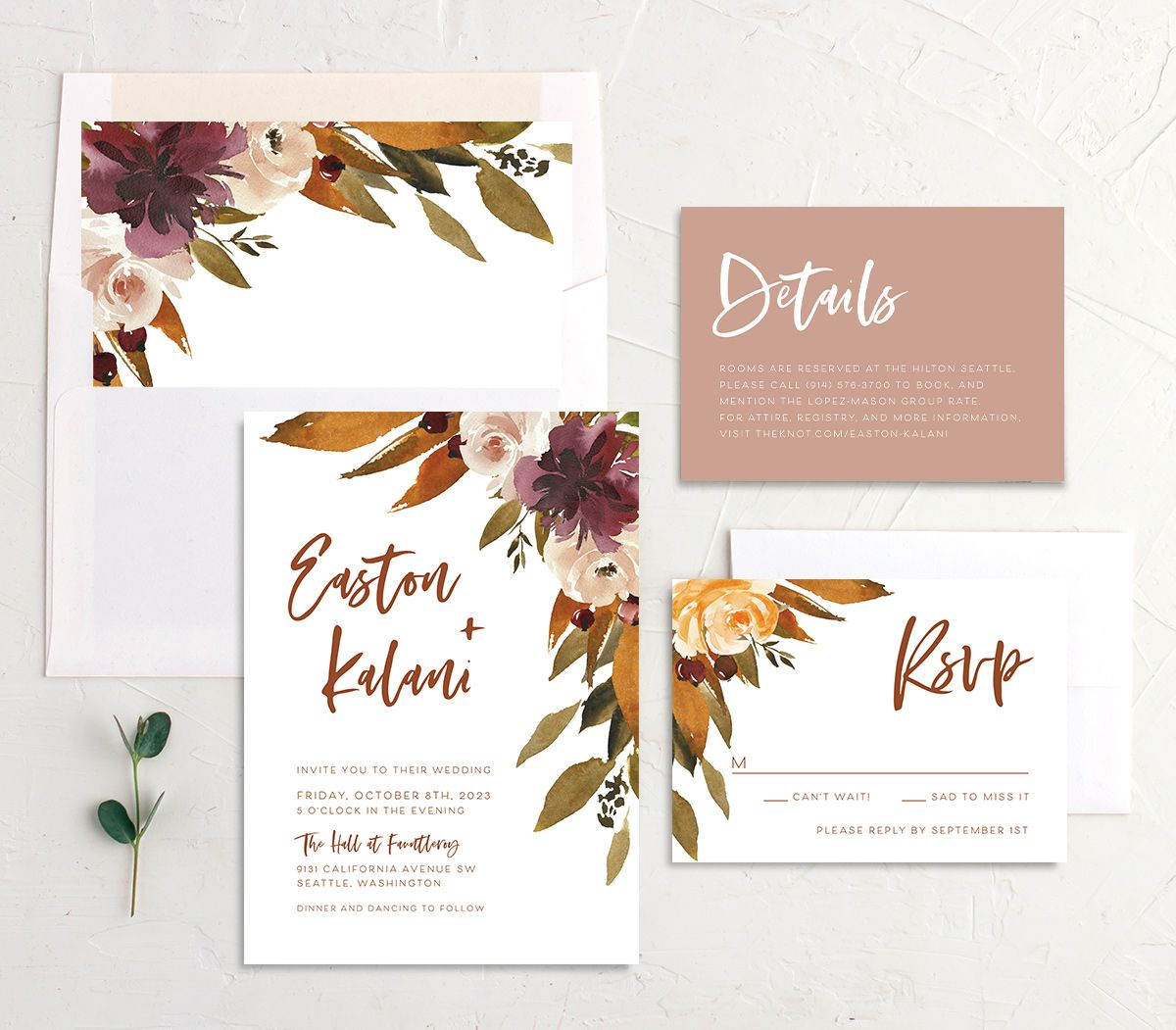 Fall Foliage Wedding Stationery Suite in pink