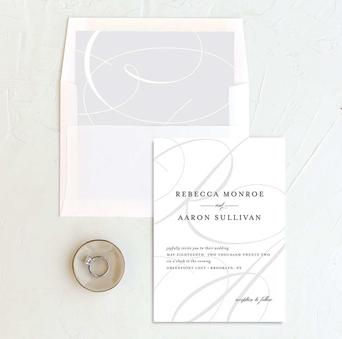 Elegantly Initialed Invitation and Envelope Liner in grey