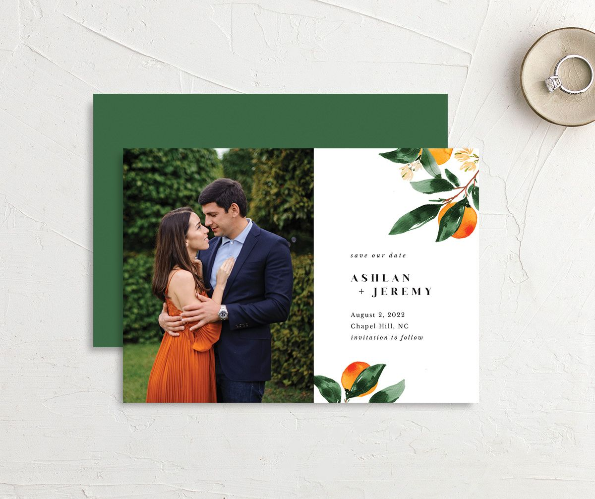 Orange Citrus Save the Date Card front & back