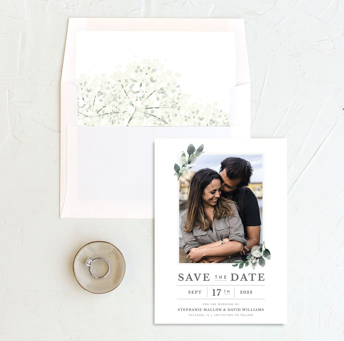 Greenery Branches Save the Date Card and Envelope Liner