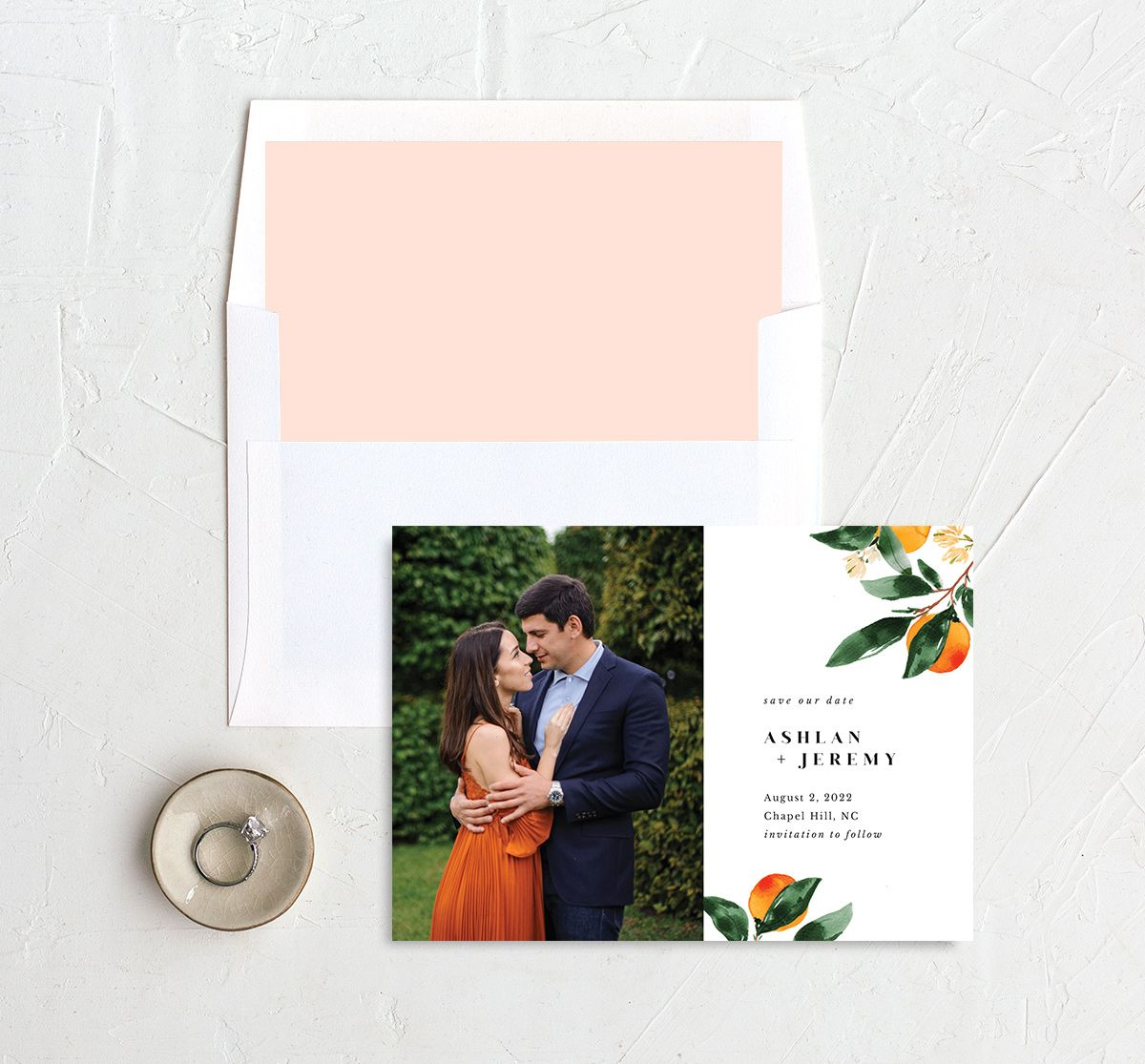 Orange Citrus Save the Date Card front with DIY liner
