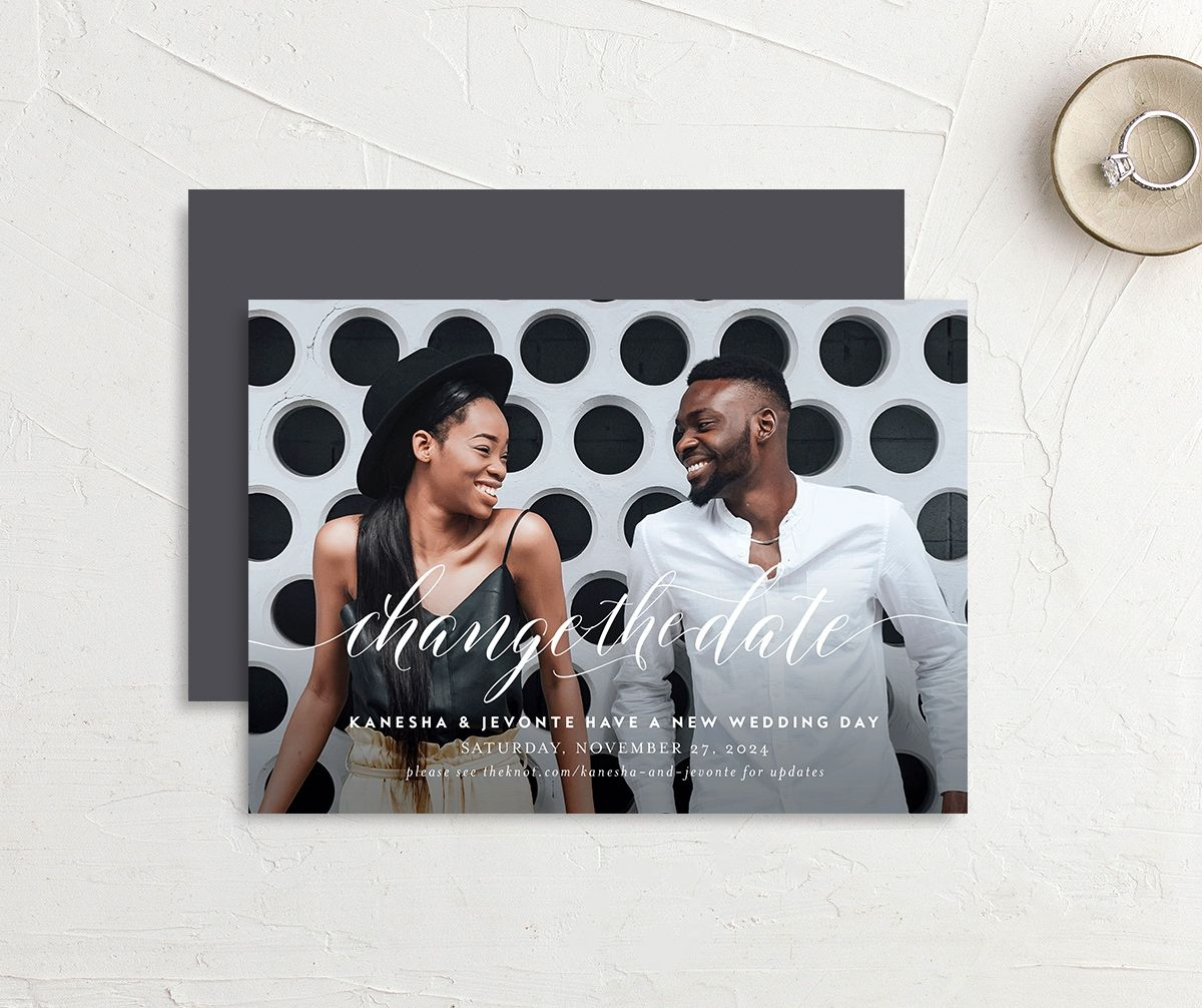 Scripted We Do Change the Date Card front & back in grey