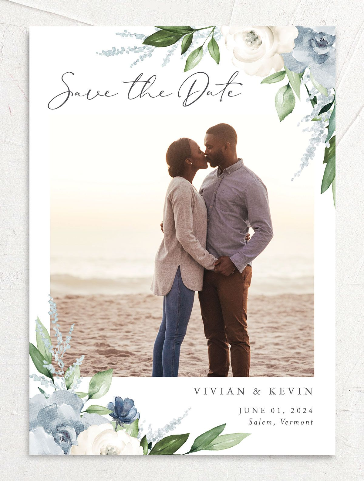 Beloved Floral Save the Date front in teal