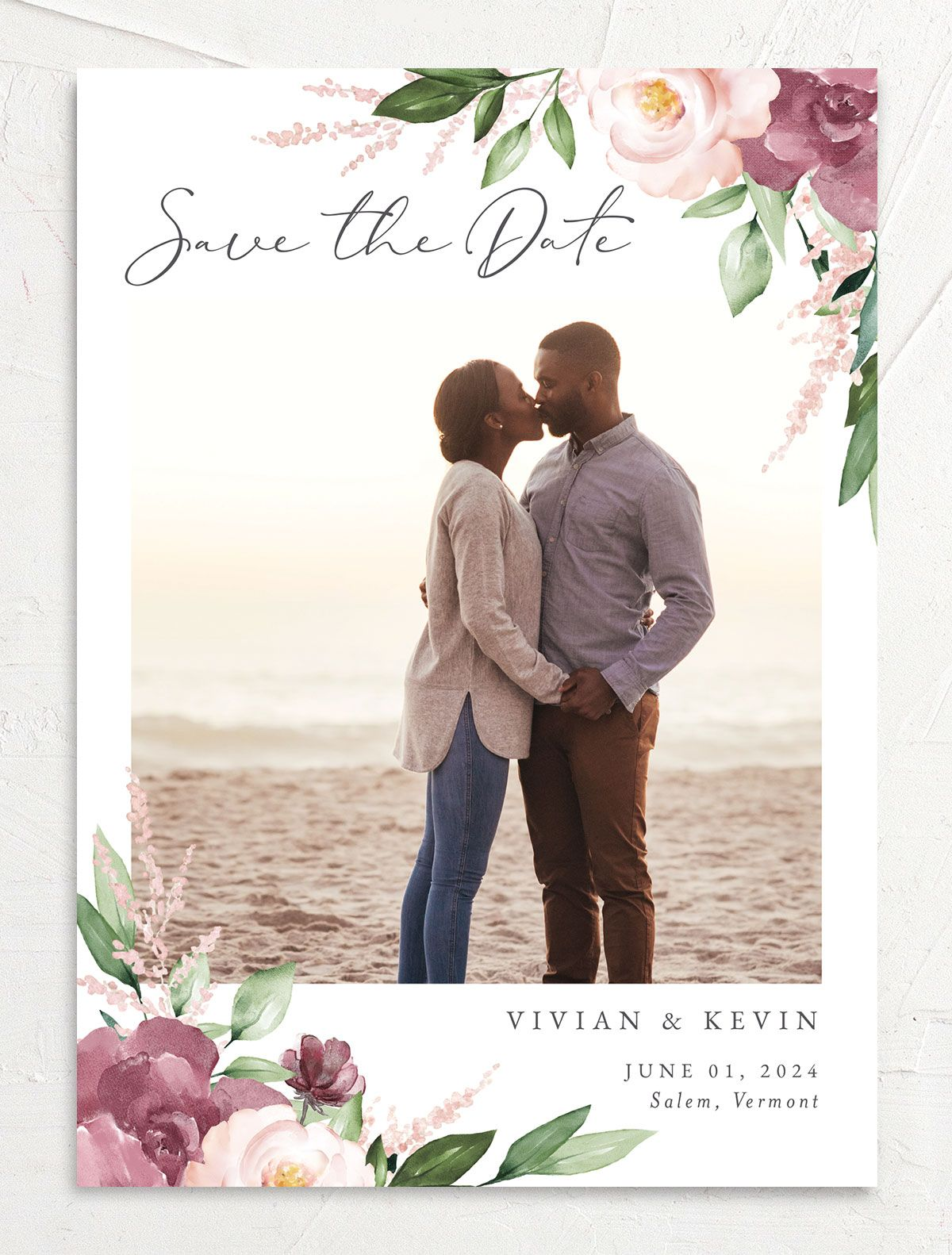Beloved Floral Save the Date front in mauve