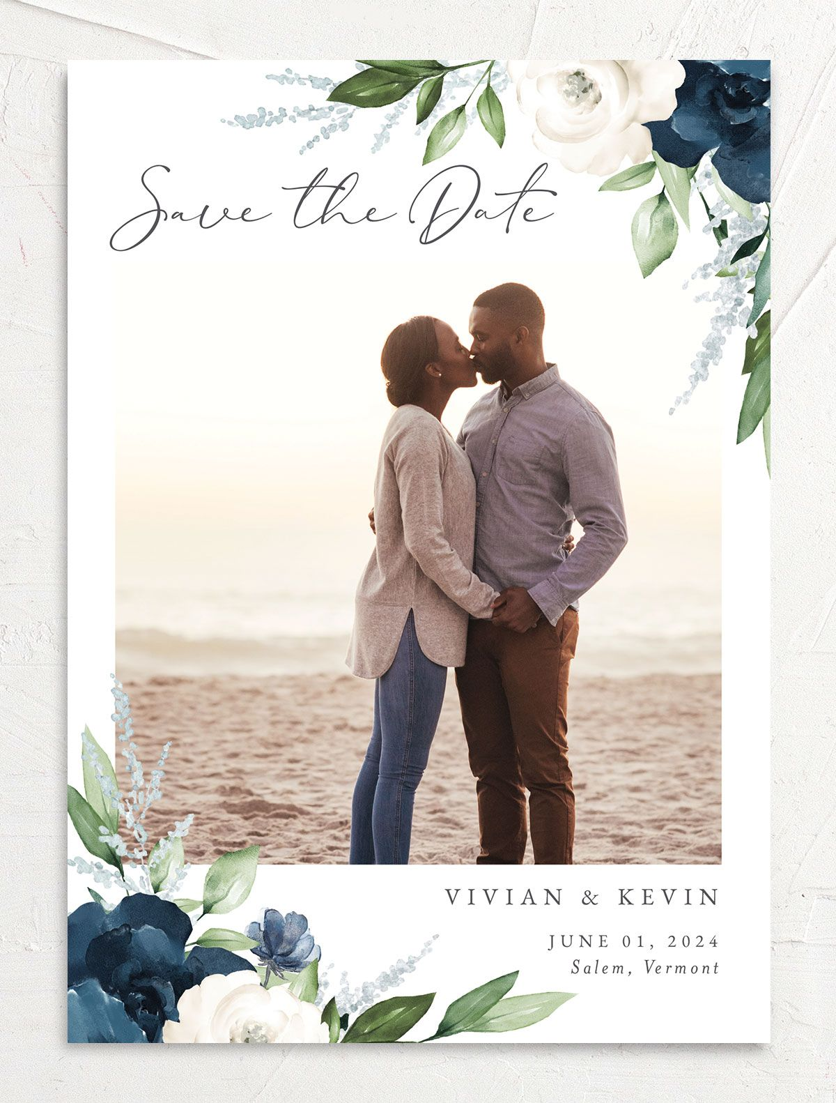 Beloved Floral Save the Date front in blue