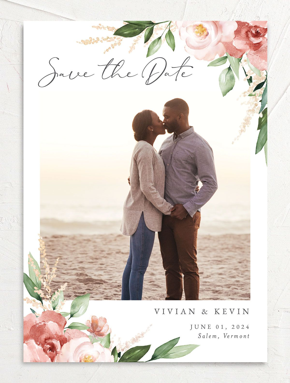 Beloved Floral Save the Date front in pink