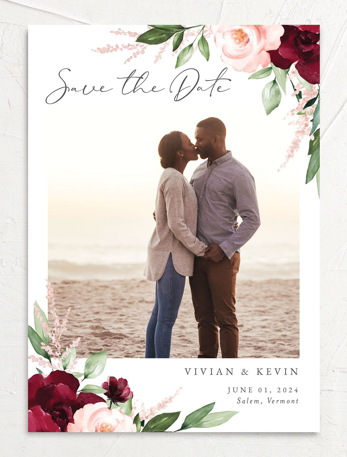 Beloved Floral Save the Date front in red