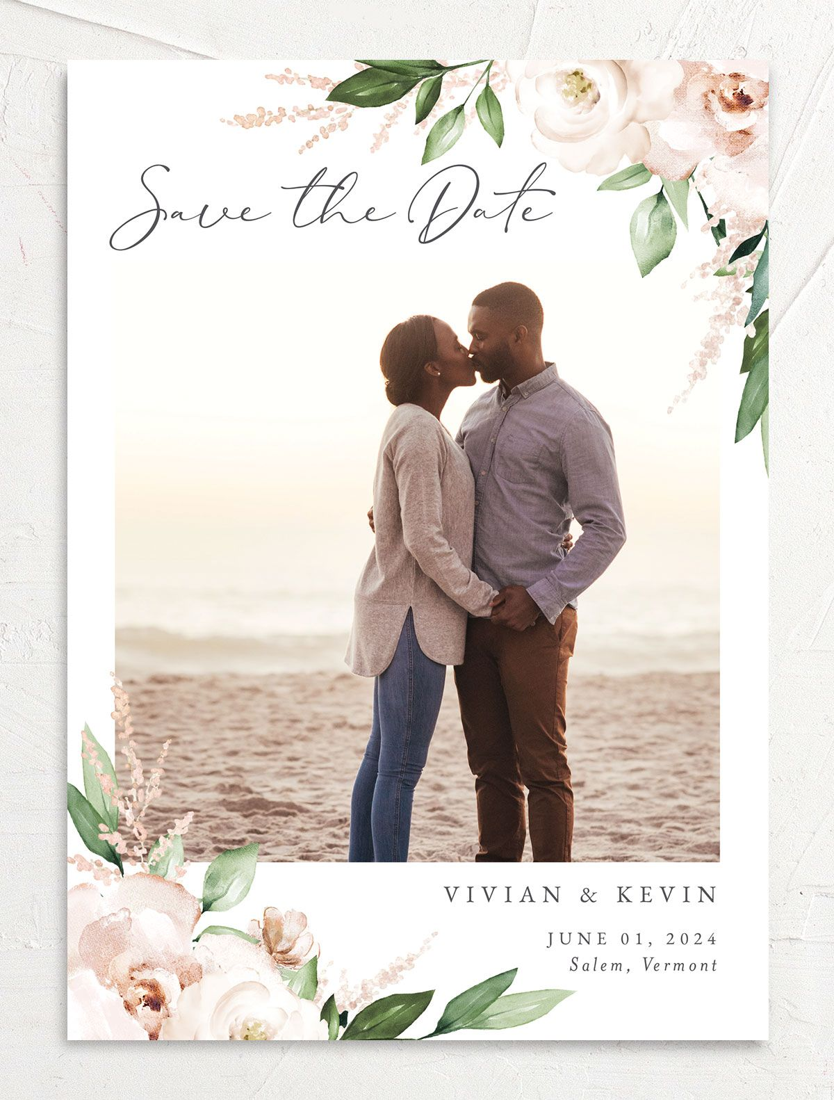 Beloved Floral Save the Date front in white