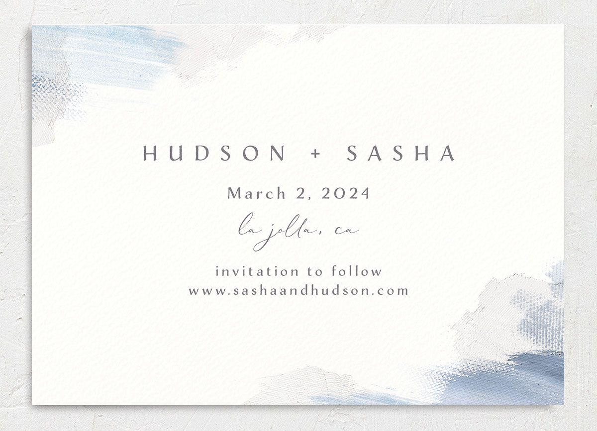 Minimal Brush Save the Date Card back in blue