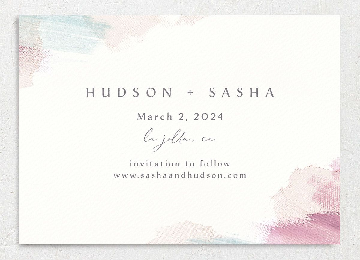 Minimal Brush Save the Date Card back in pink