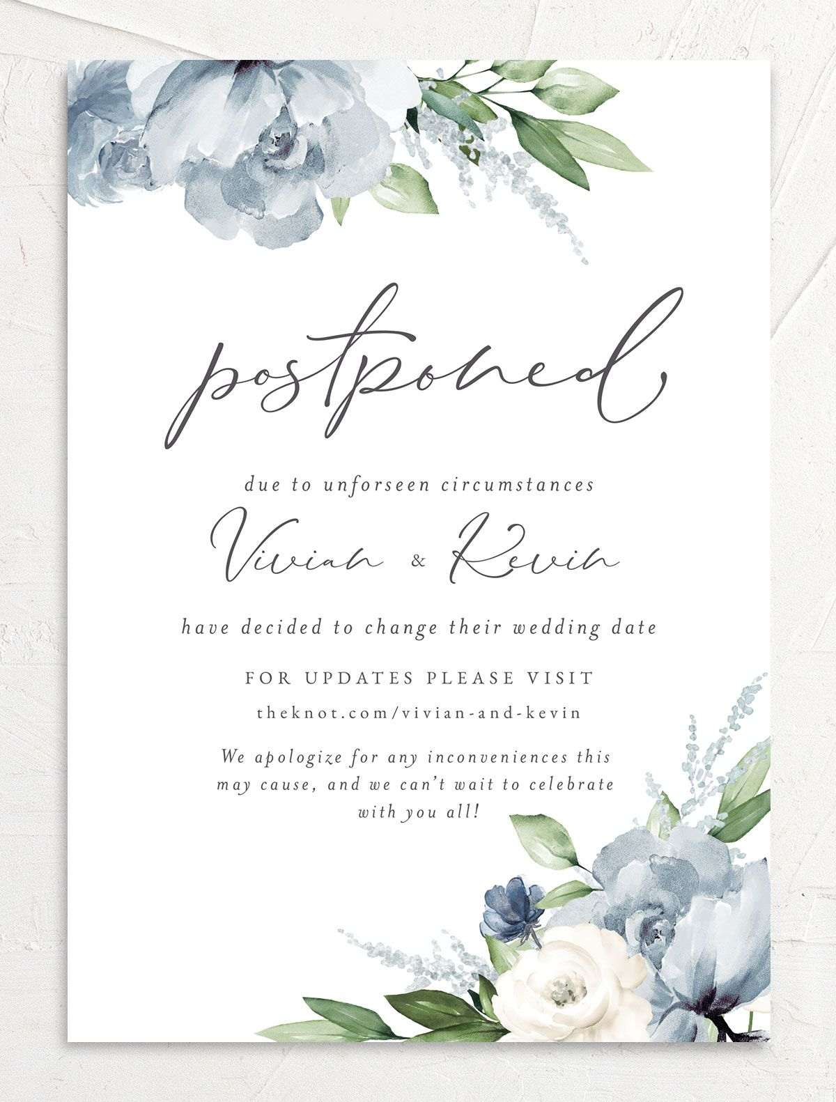 Beloved Floral Change the Date Card front in teal