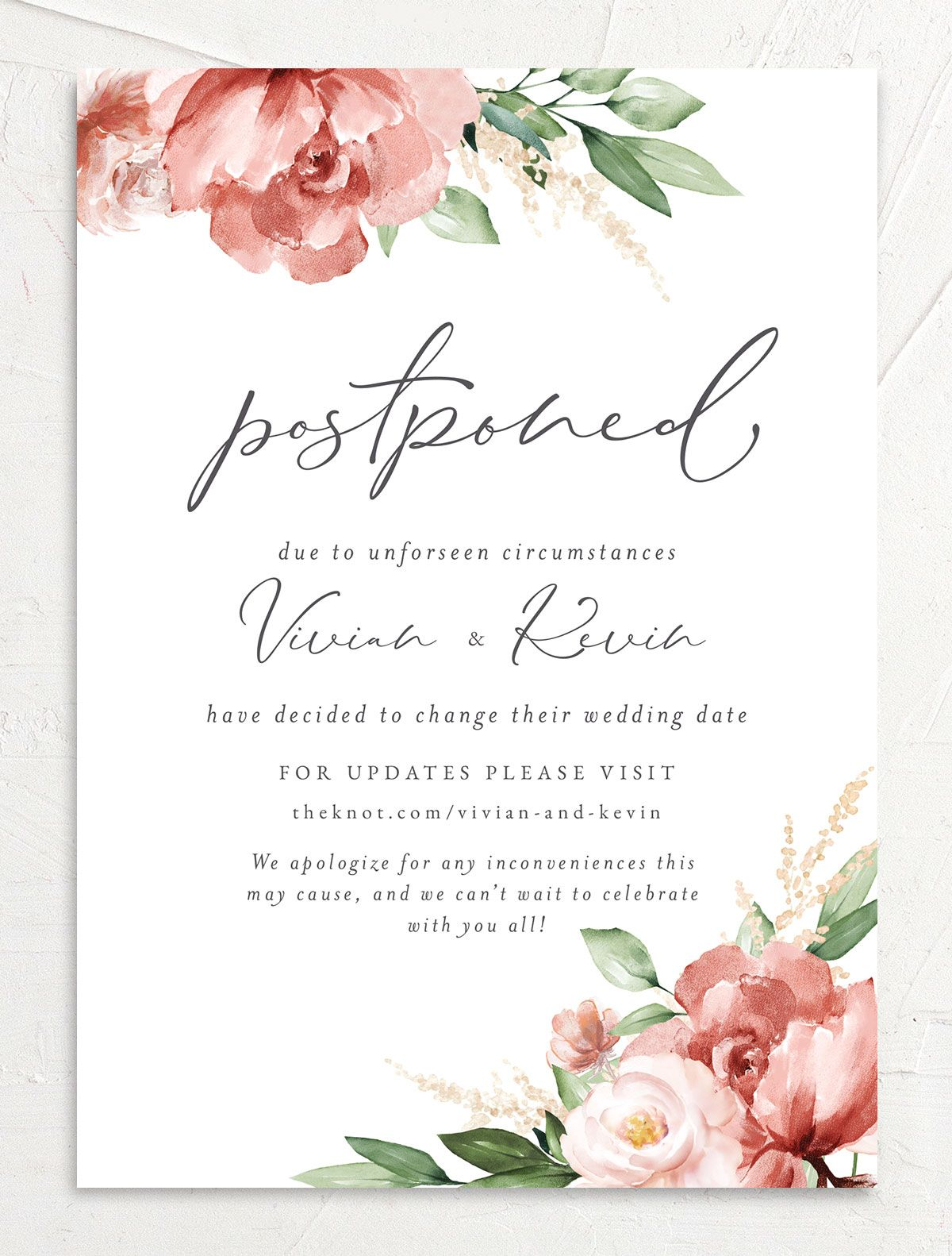 Beloved Floral Change the Date Card front in pink
