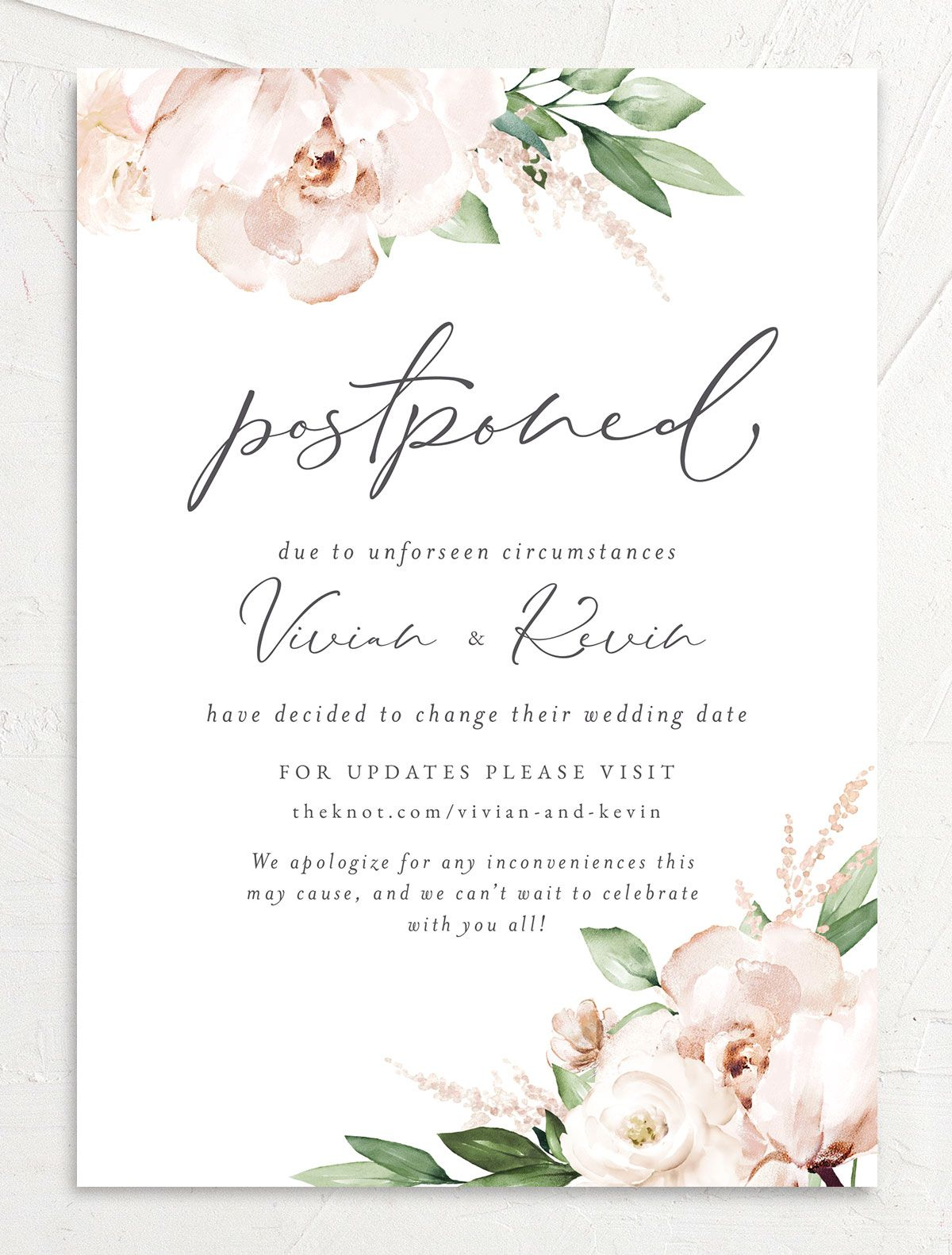 Beloved Floral Change the Date Card front in white