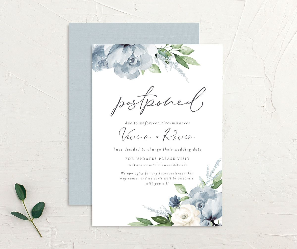 Beloved Floral Change the Date Card front & back in teal