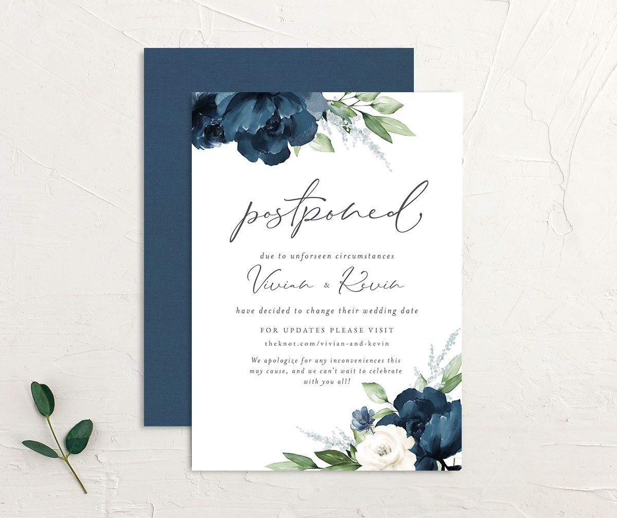 Beloved Floral Change the Date Card front & back in blue