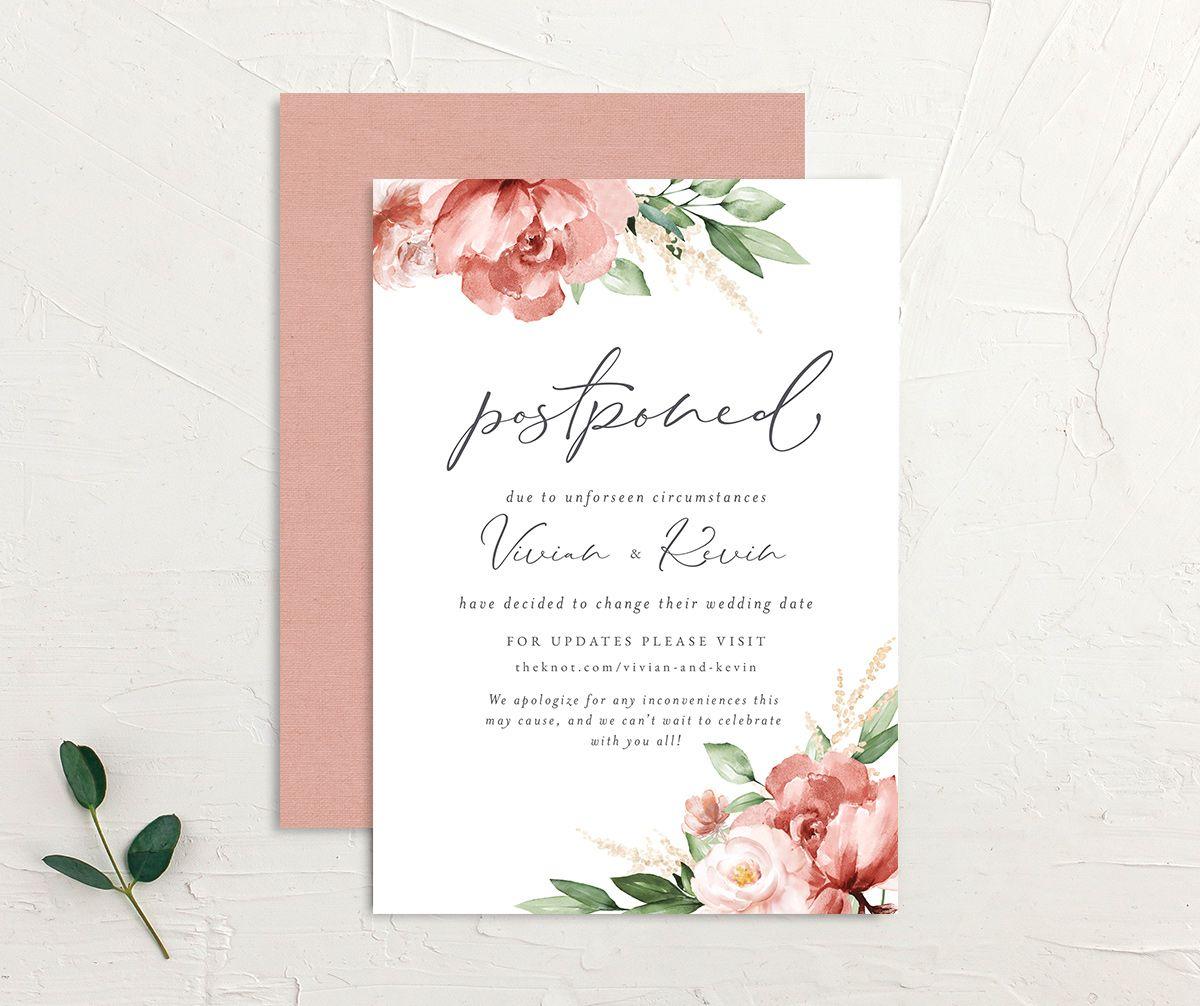 Beloved Floral Change the Date Card front & back in pink